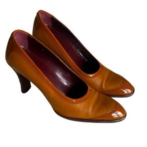 Tod's Tan Leather and Patent Leather Pumps